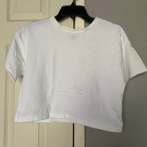 F21 White Crop Top Tee